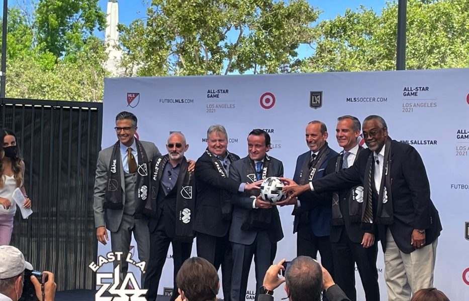 Photo Opportunity for Key Partners of the MLS All-Star Game Coming To Banc of California Stadium on August 25th. Present were Don Garber, MLS Commissioner; Mikel Arriola, Exec. President, Liga MX; Eric Garcetti, Mayor of Los Angeles; Larry Freedman; LAFC President & CBO; Larry Berg, LAFC Lead Managing Owner; Curren Price, L.A. City Councilman, 9th District, Javier